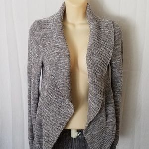 Gray Open Front Knit Cardigan